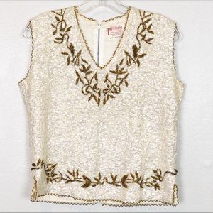 Vintage Sequined Top V-Neck Sleeveless Cream Brown